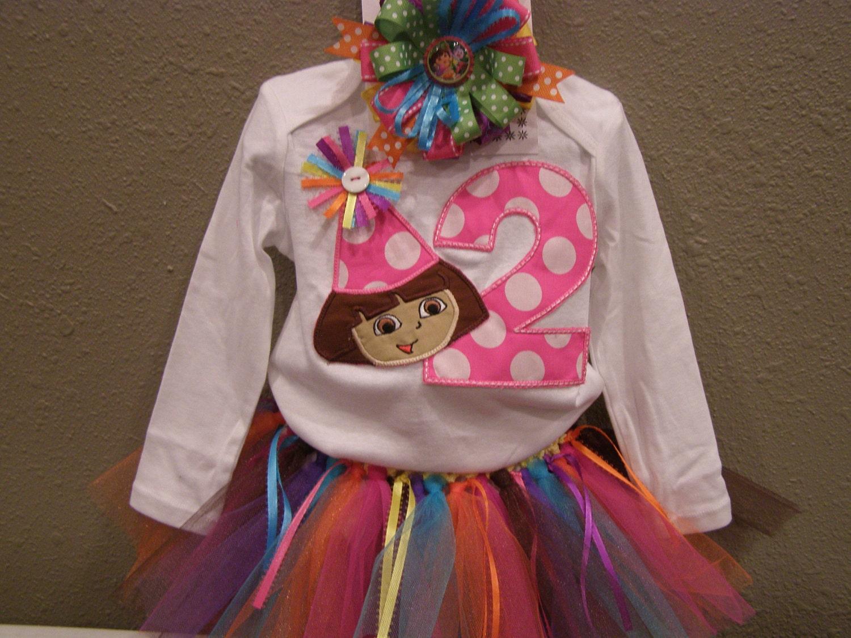 Items similar to Dora the Explorer Birthday Tutu Set on Etsy
