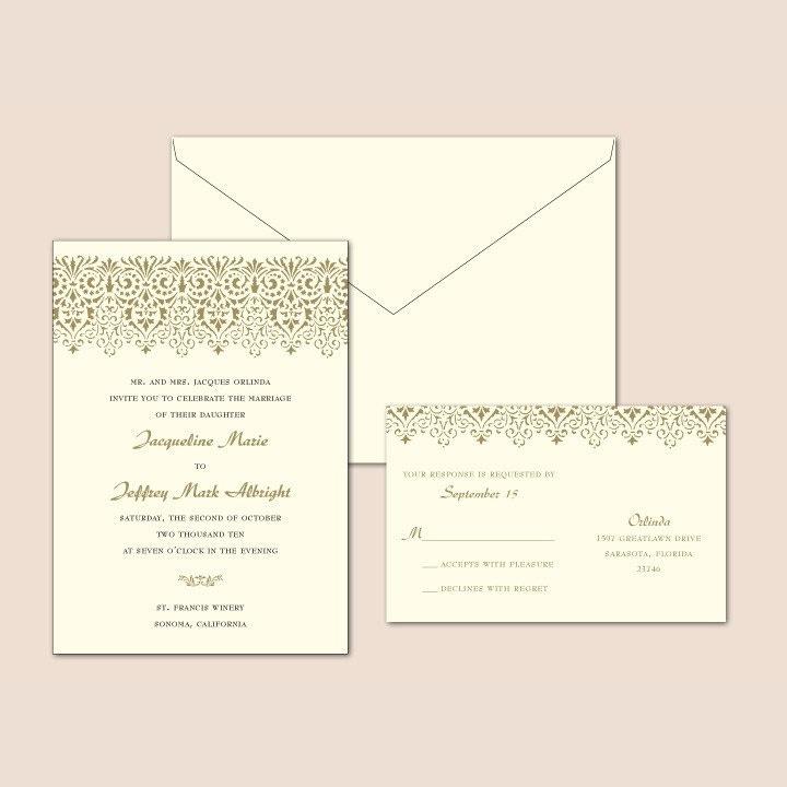 Vintage Lace Letterpress Wedding Invitation Set 1 color From ajalon