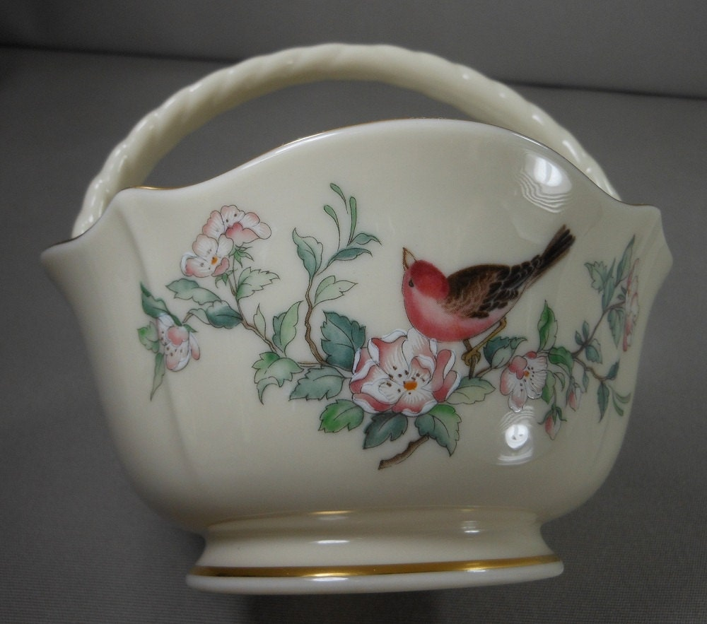 Sale Lenox Serenade Pattern Basket Bowl Bird And By Patziplace