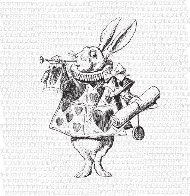 White rabbit alice in wonderland illustration