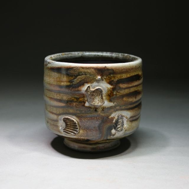 Shino Yunomi, Wood Fired Stoneware Cup, Side Fired