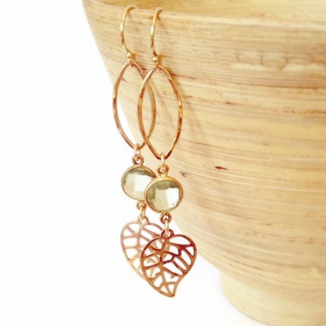 Fall Fashion, Fall Earrings, Autumn Earrings, Autumn, Leaf Earrings with green amethyst, Fall trend Jewelry - AinaKai