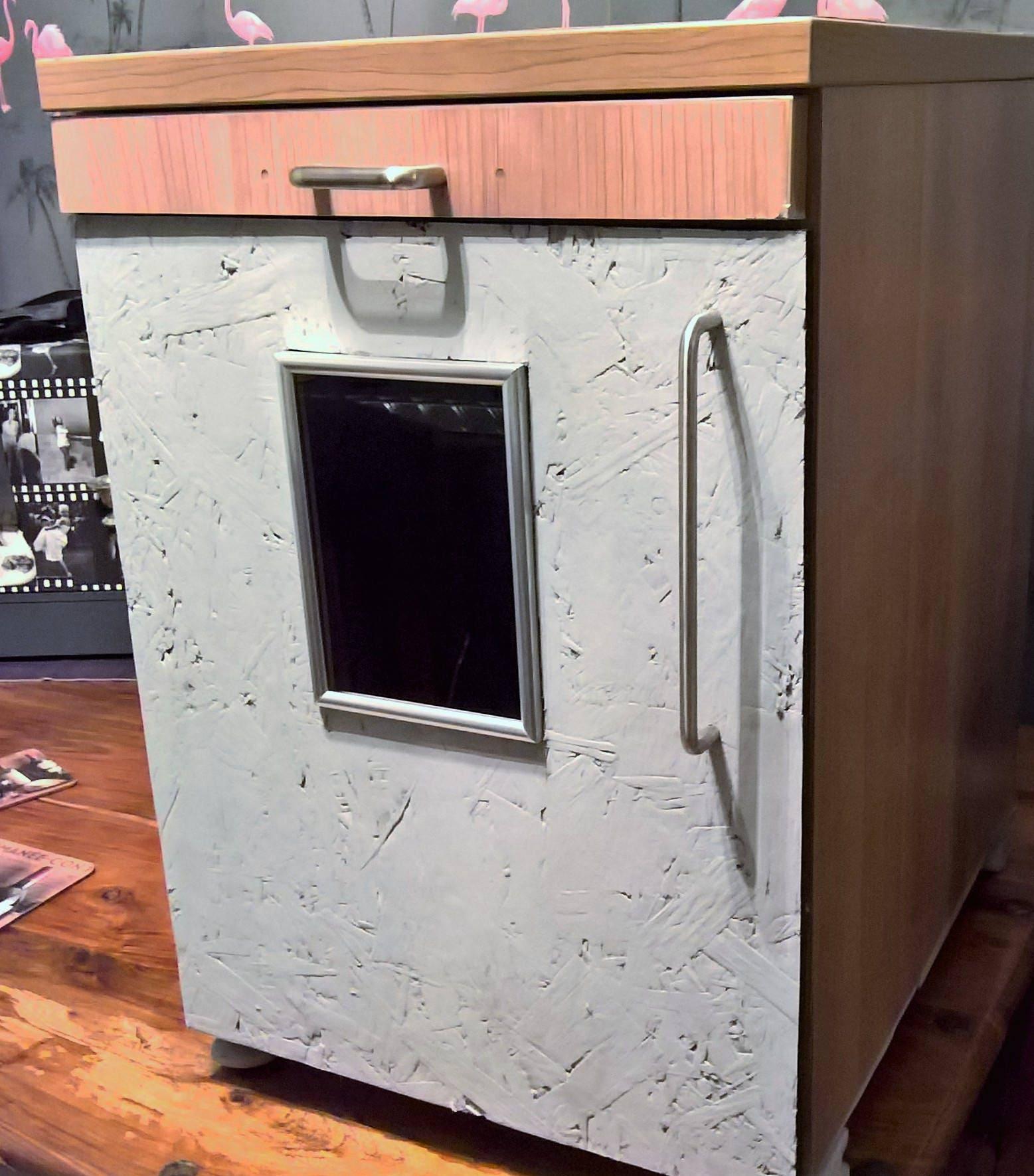 Handmade recycled storage unit cabinet wooden door glass viewing window metal handles