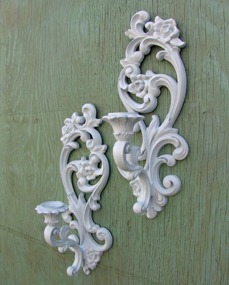 Vintage set Ornate Wall Sconce Candle Holders by SimplyShabby2Chic