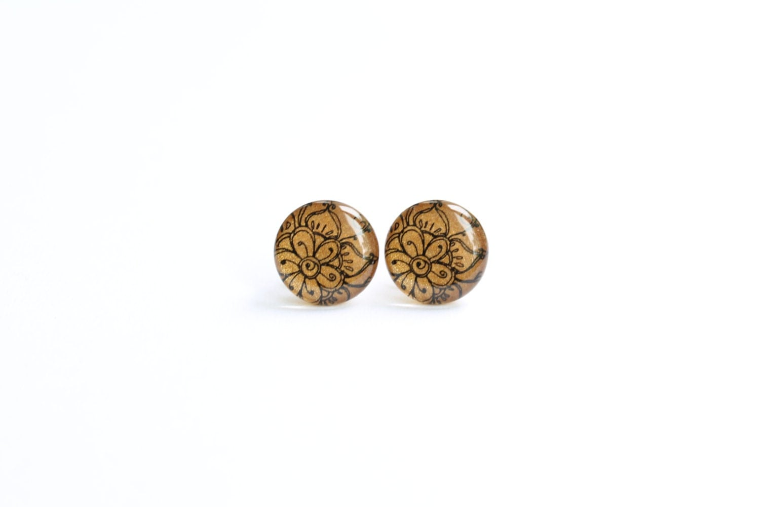 Studs, mustard yellow stud earrings, antique gold earrings ...