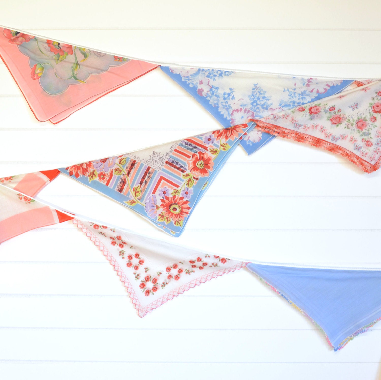 Birthday Party Decoration Vintage Hankie Bunting by KOLORIZE