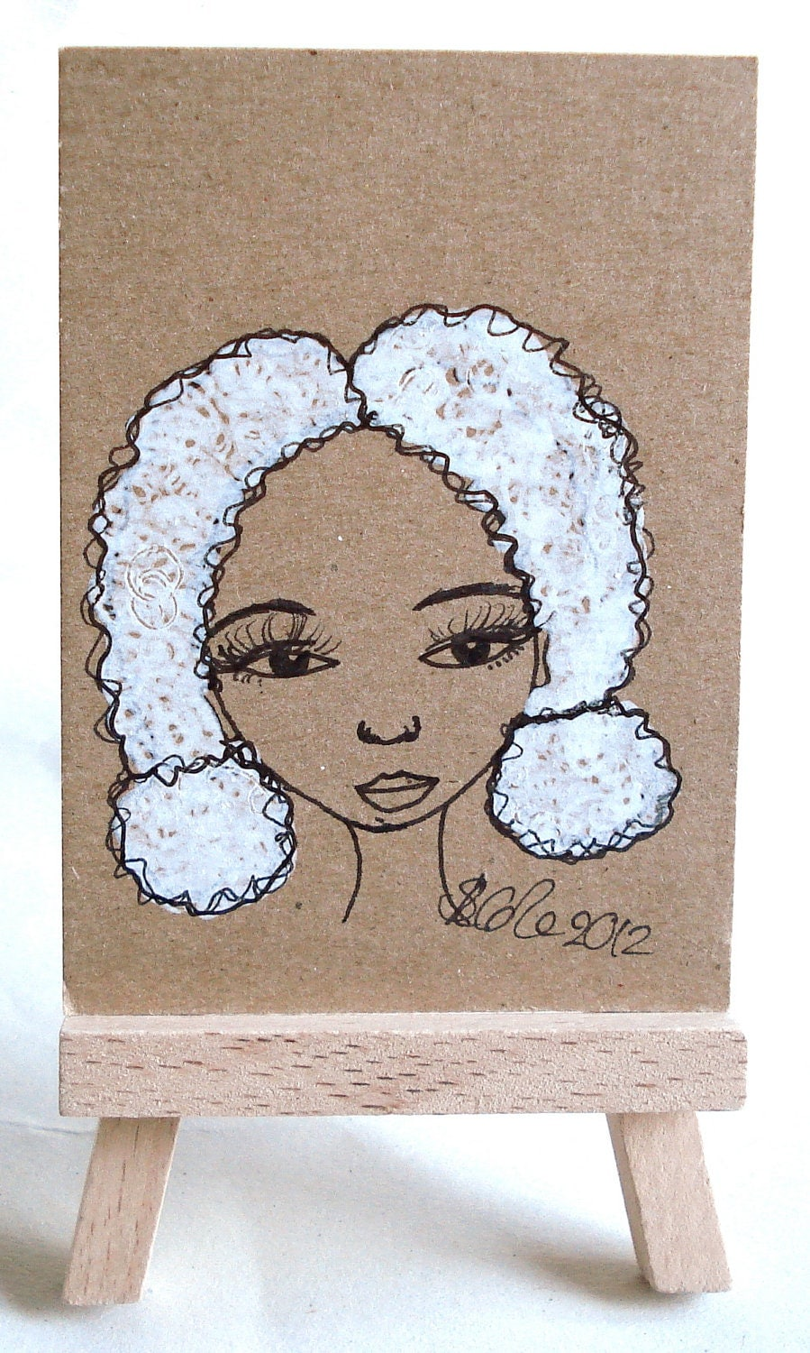 Original ACEO Drawing on Brown Kraft Card