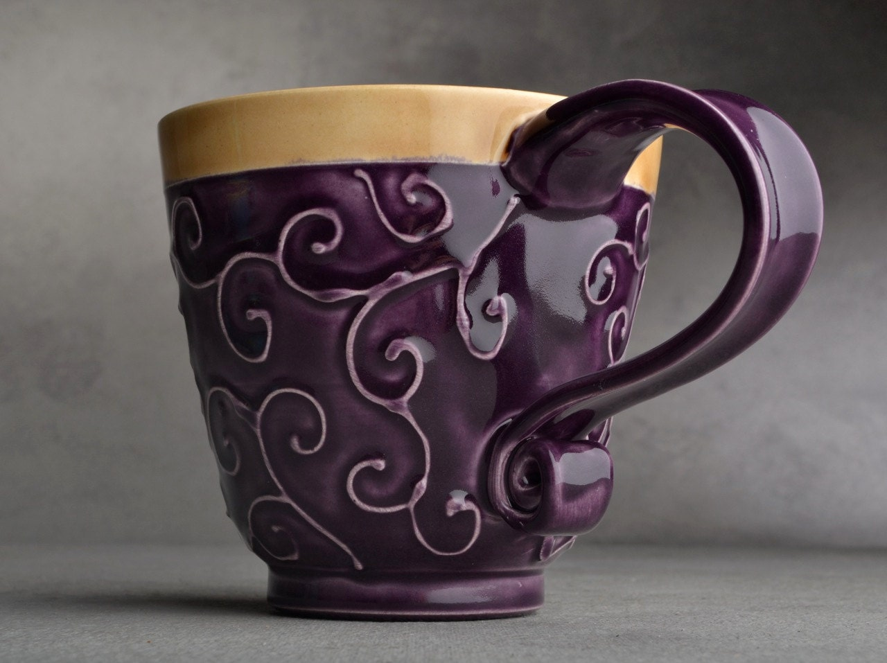 Curly Mug Made To Order Purple and Mocha Slip Trailed Mug by Symmetrical Pottery - symmetricalpottery