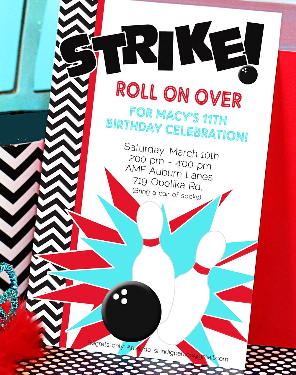 Bowling birthday party invitation template trattorialeondoro filmwisefo