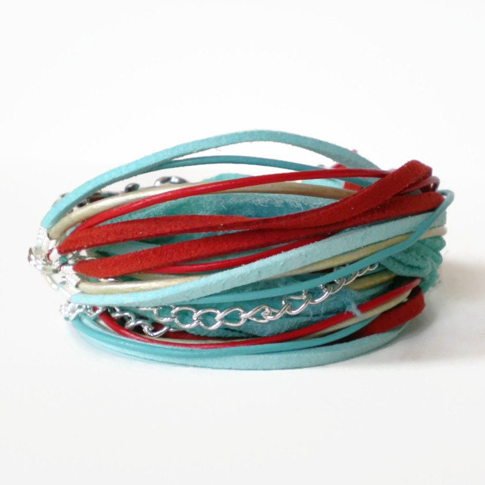 bohemian wrap bracelet turquoise red cuff bracelet multistrand wrap bracelet triple wrap bracelet wraparound endless cuff gift for her