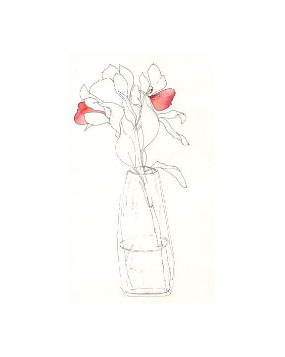 """Watercolor print: """"Flower Vase"""", by estudio arbitrario - estudioarbitrario"""