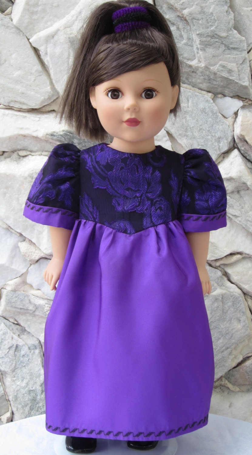 "Red-violet taffeta gown with a black & purple chiffon overlaid bodice for an 18"" doll. - TinaDollDesigns"