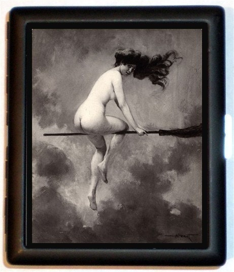 Th C Painting Nude Witch On Broom Risque Cigarette Id Case Business