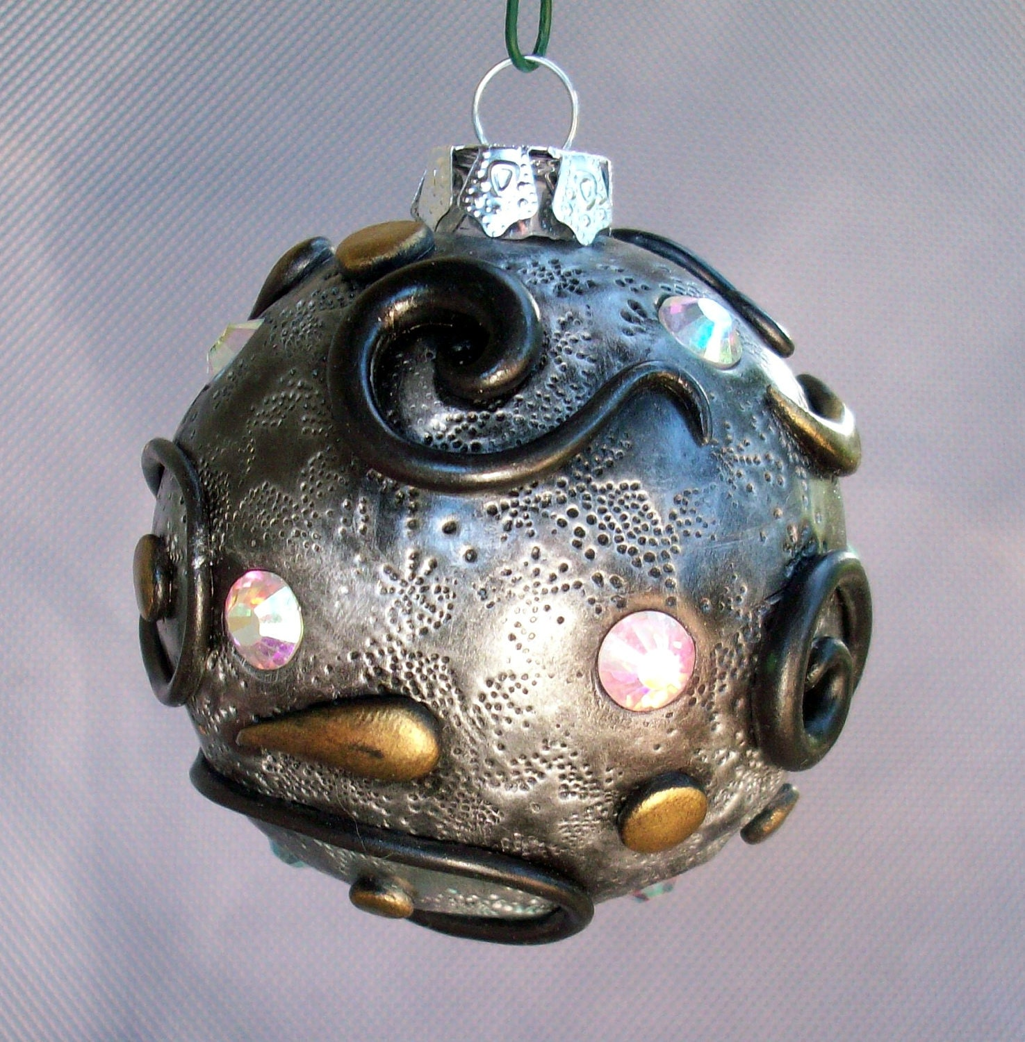 Christmas Ornament Handmade Polymer Clay and Glass