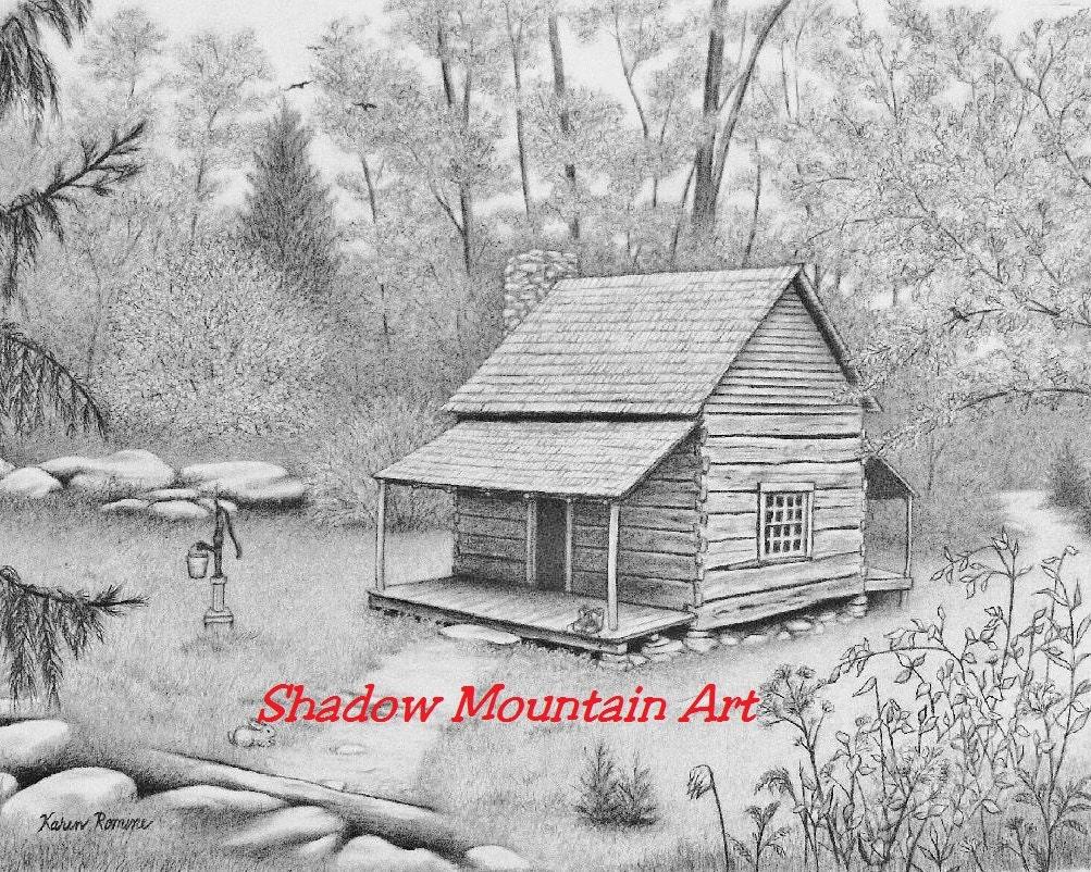 Art Print Of Graphite Drawing Log Cabin By Shadowmountainart