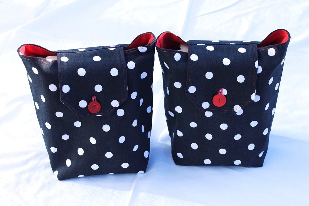 red black and white reusable gift bags Valentine's Day for her polkadot retro modern