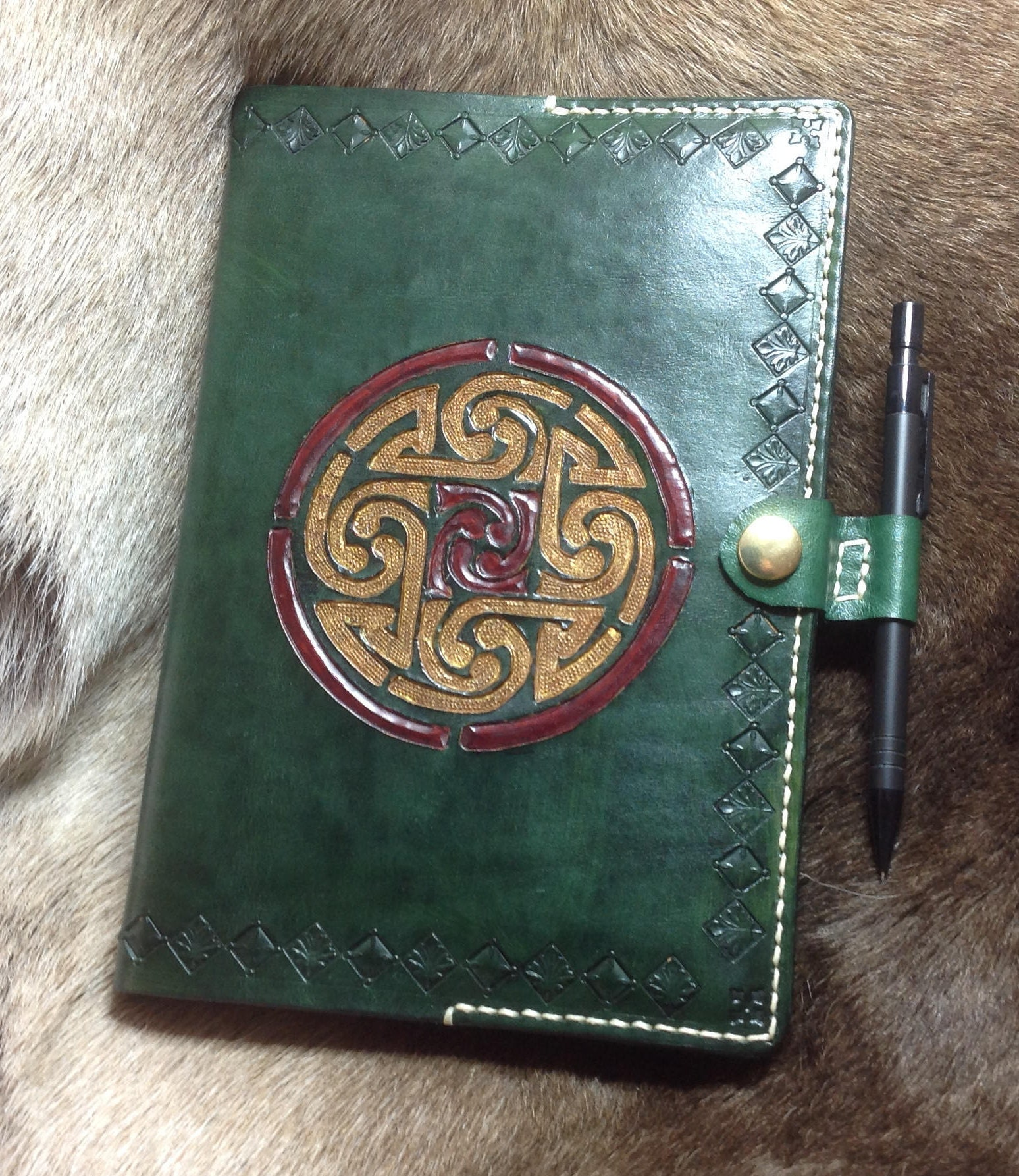 Celtic design A5 leather notebook cover