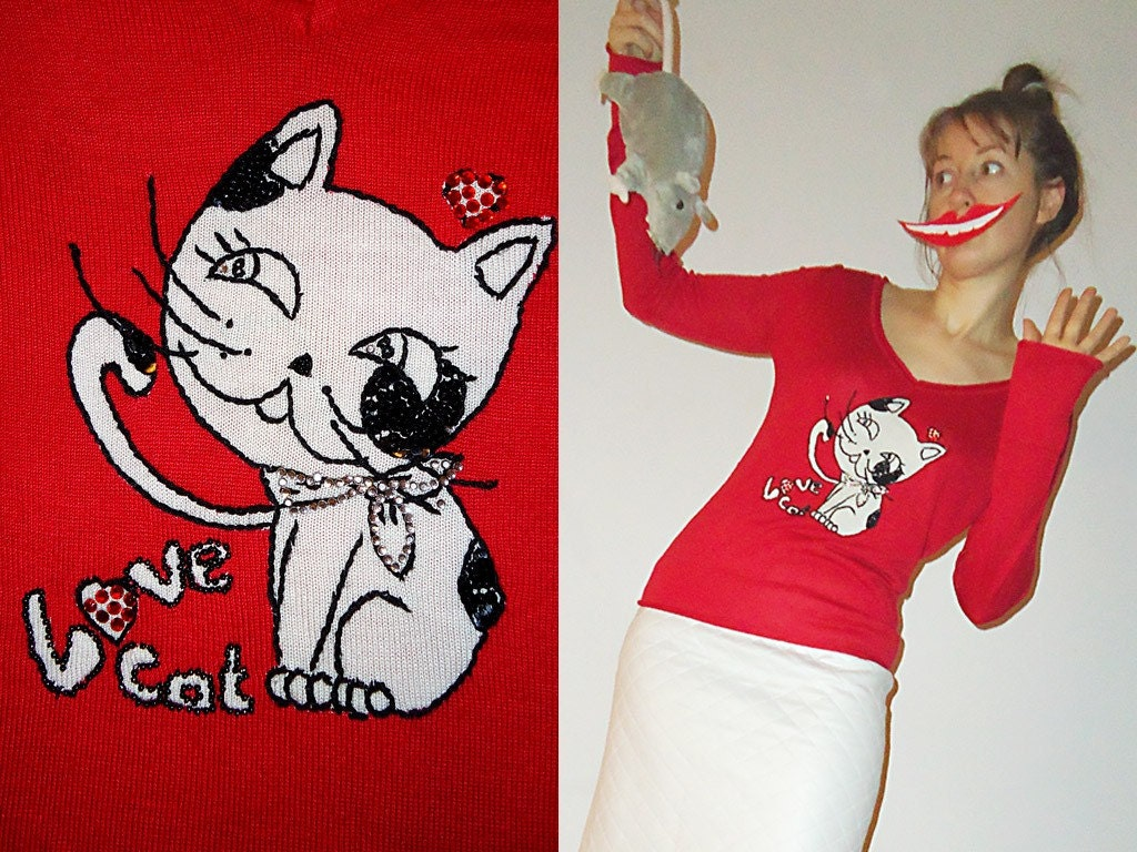 LOVEcat on a HoT TiN ROOF Red Vintage Knit Longsleeved Top Sweater with Cat and Hearts S/M/L