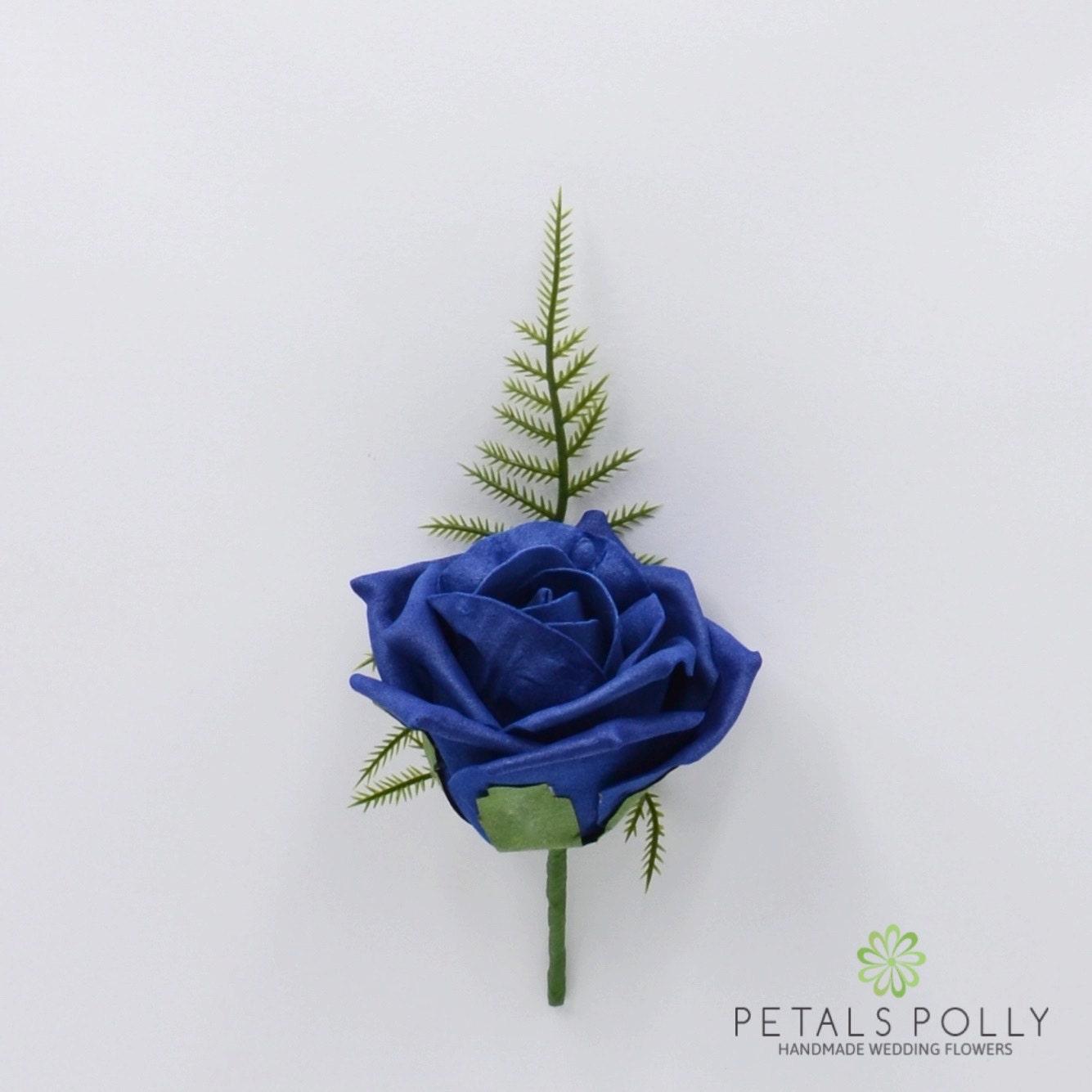 Artificial Wedding Flowers Navy Blue Foam Rose Buttonhole