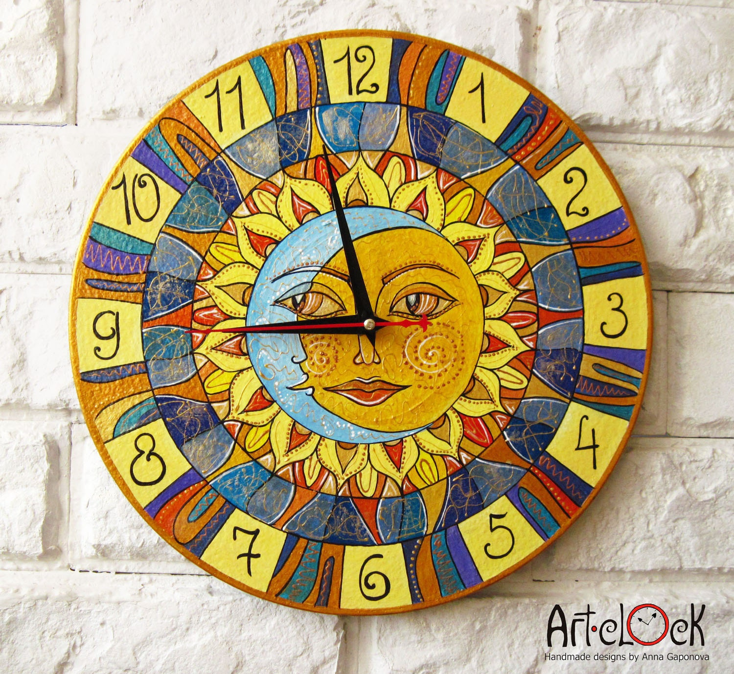 the sun and moon wall clock home decor for children by artclock. Black Bedroom Furniture Sets. Home Design Ideas