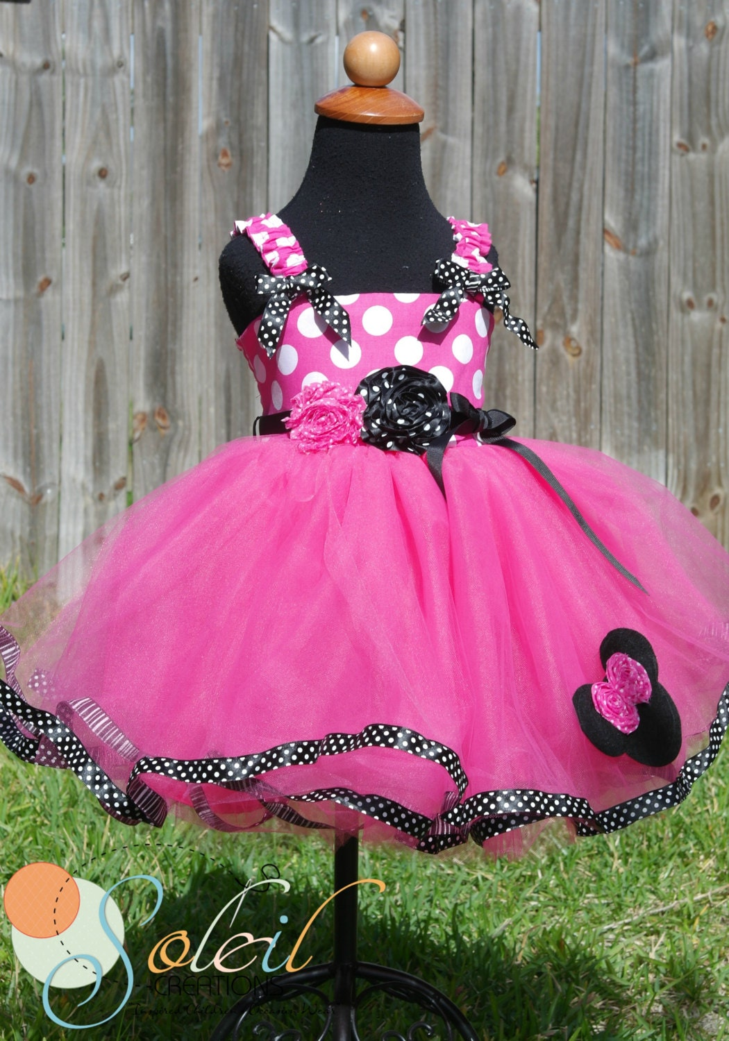 Hot Pink Minnie Mouse Tutu Dress In Black and White by SCbydesign