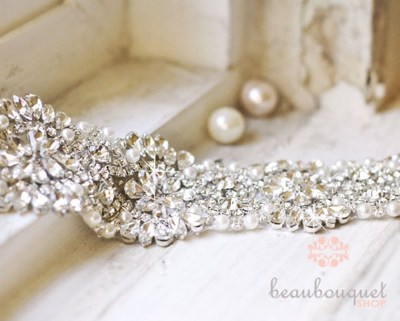 "SWAROVSKI Bridal Sash Rhinestone Bridal Beaded Rhinestone Sash Wedding Sash 17"""