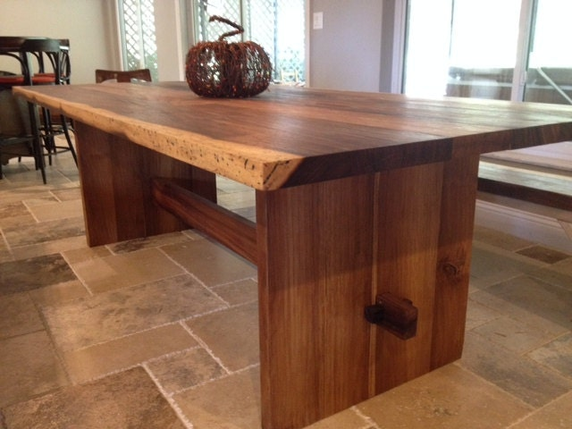 Solid Wood Slab Trestle Table, Live Edge, Made from Exotic Wood ...