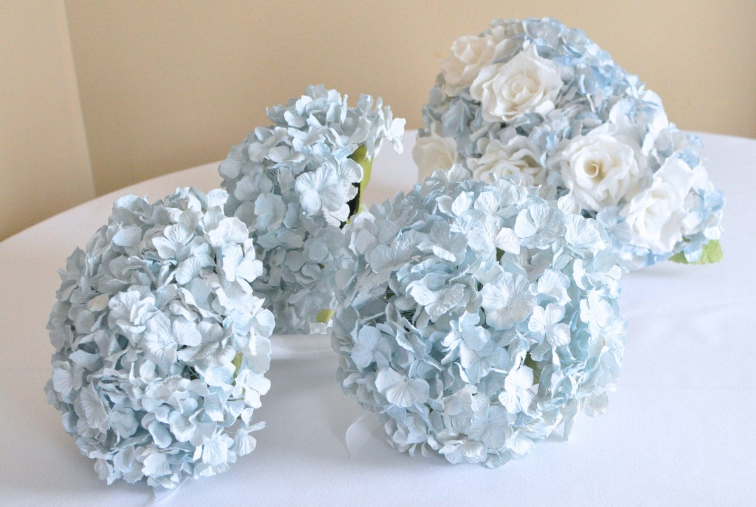 light blue paper hydrangea bouquet, 100 floret bouquet of pale blue wedding flowers, bouquet, wedding bouquet, paper flowers - AlternativeBlooms