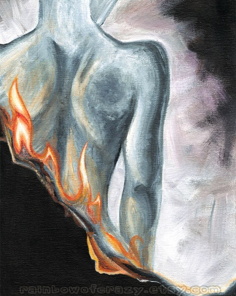 Fire Print, Nude Back Fine Art, Burning Paper, Female Back, Abstract Illustration, 8x10 Wall Art, Back Pain Picture, Fibromyalgia Artwork - rainbowofcrazy