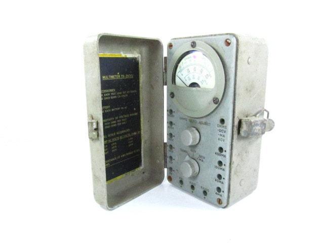 Multimeter Ohm Meter, Volt Meter, Industrial decor, Mid Century Decor, Gray Metal Box - KarensChicNShabby