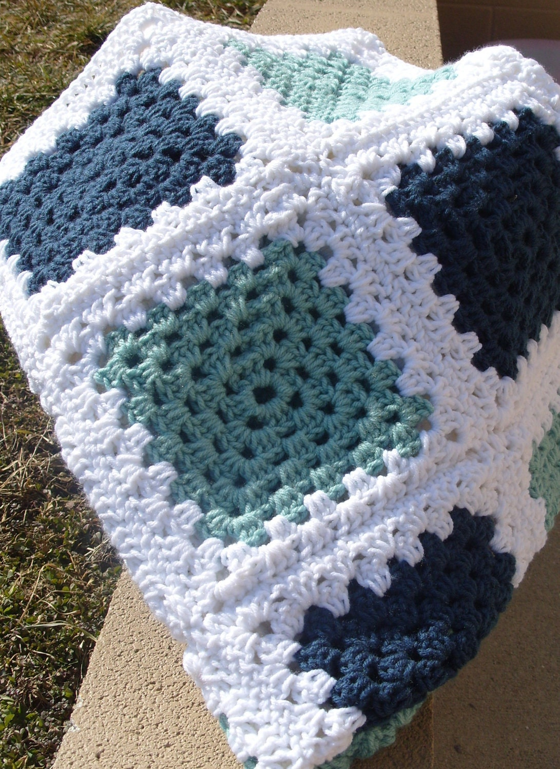 Green Crochet Afghan Pattern : Blue Green and White Granny Square Afghan by klickin2kneedles