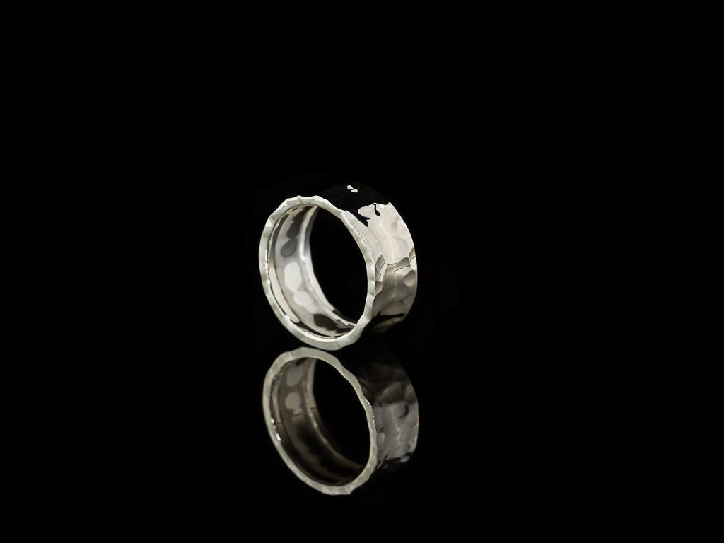 Concave Wrought Sterling Silver Ring For Men