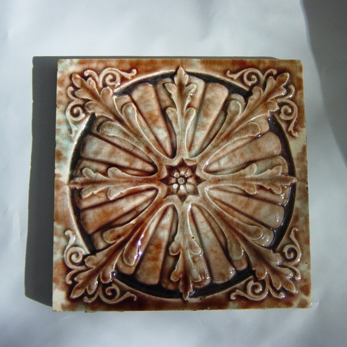 Vintage Majolica Trent Fireplace Tile Brown By DandelionGirl