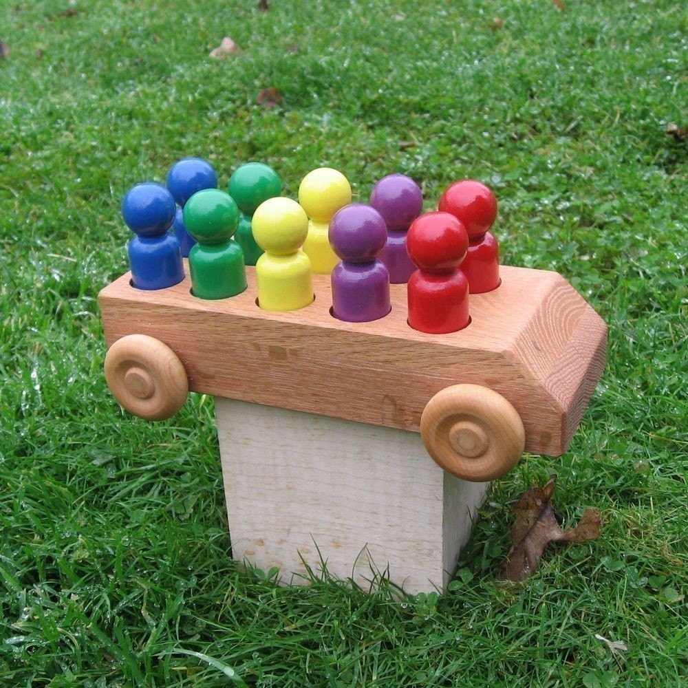 Wooden Toys For Boys : Wooden toy bus kids handmade natural wood by woodtoyshop