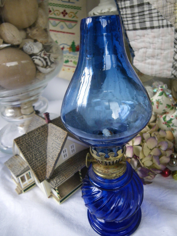 Vintage Cobalt Blue Oil Lamp