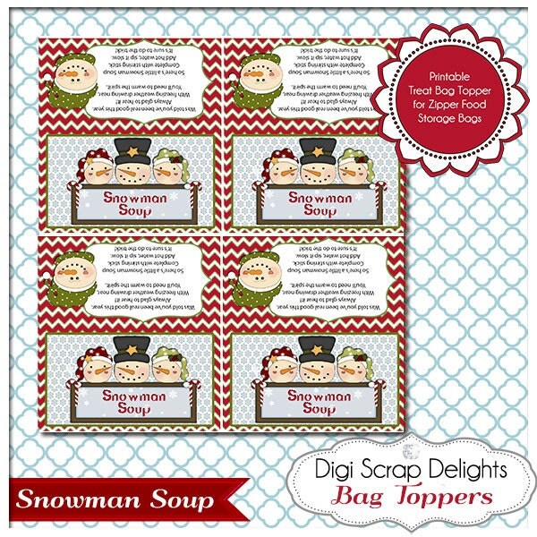 Snowman Soup Printable Bag Topper - Gifts for Neighbors, Sunday School ...