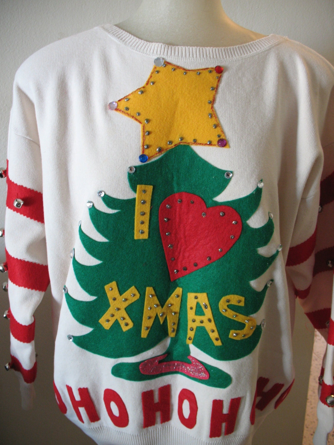 Size large grinch ugly christmas sweater jingle bells one of a kind