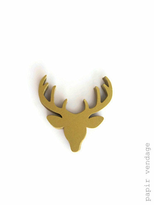 25 Golden Deer die cuts, gold antlers, thanksgiving die cuts, woodland die cuts, derr head die cuts, holiday  scrapbooking - papirvendage
