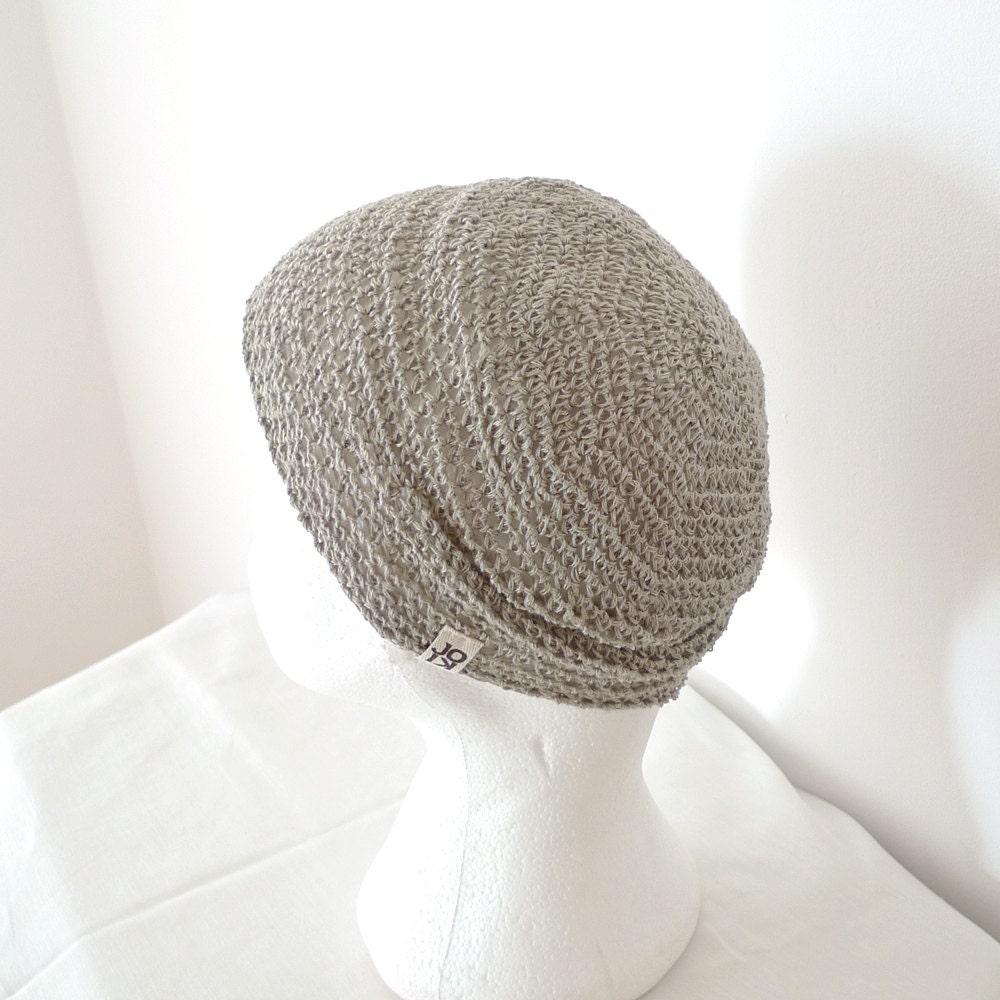 Linen Hat, Crochet Beanie - Natural Light Gray Grey, Slightly Slouchy - Minimal Unisex Spring, Summer Hat Beach Fashion Accessories - Joik
