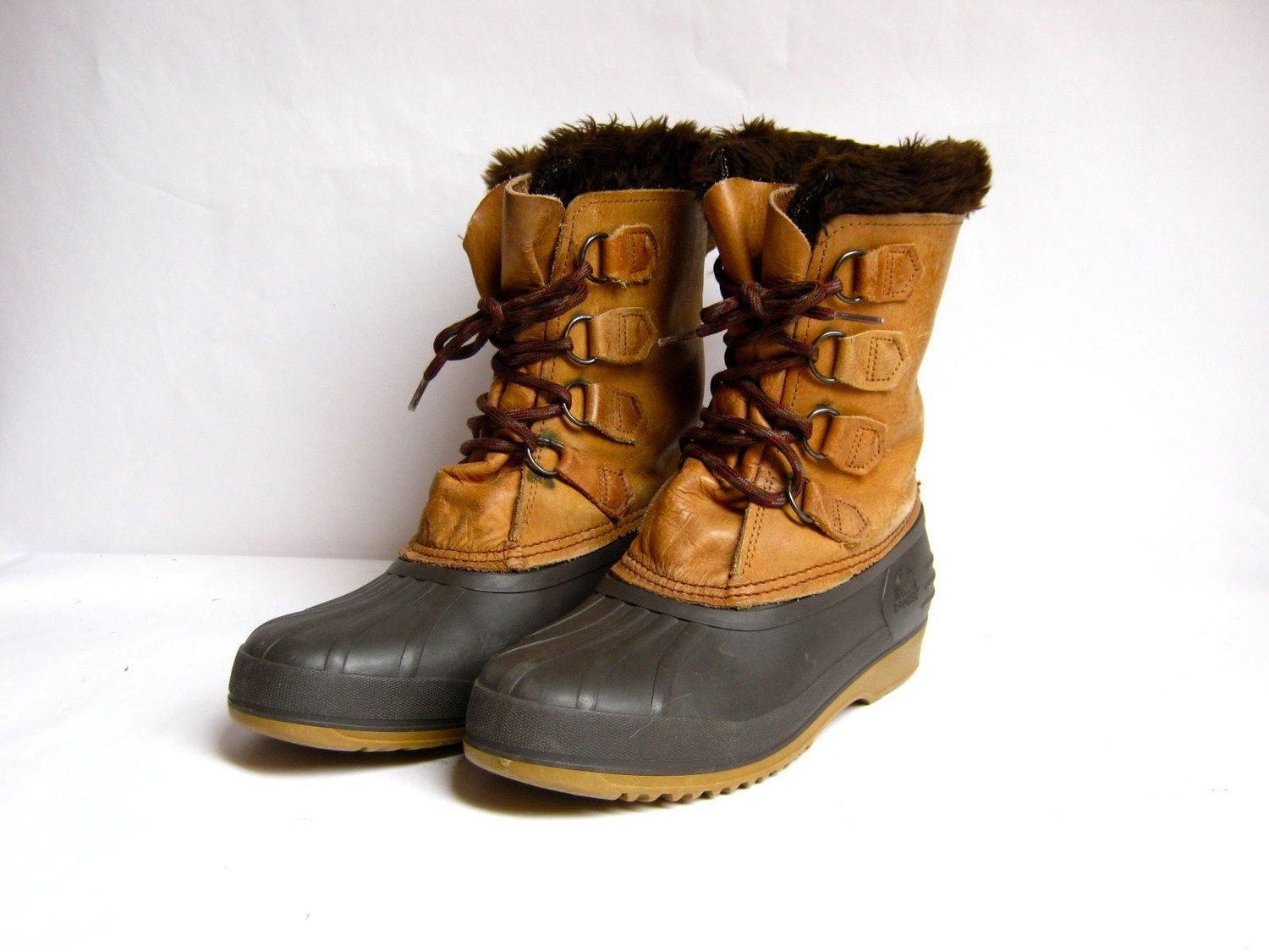 brown leather and rubber sorel snow boots 9 by