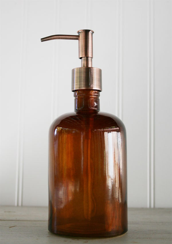 Recycled Glass Soap Dispenser Amber Copper Rustic Style By