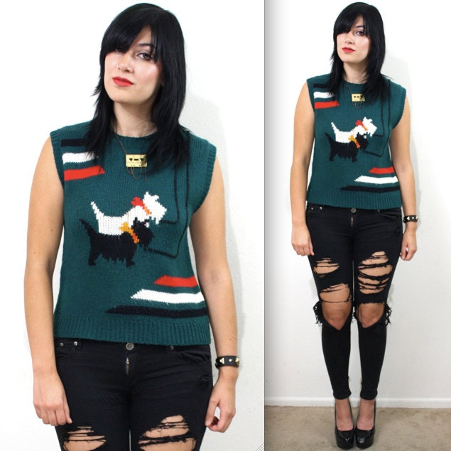 Vintage 70s Adorable Scottie Dog Novelty Knit Sweater Vest