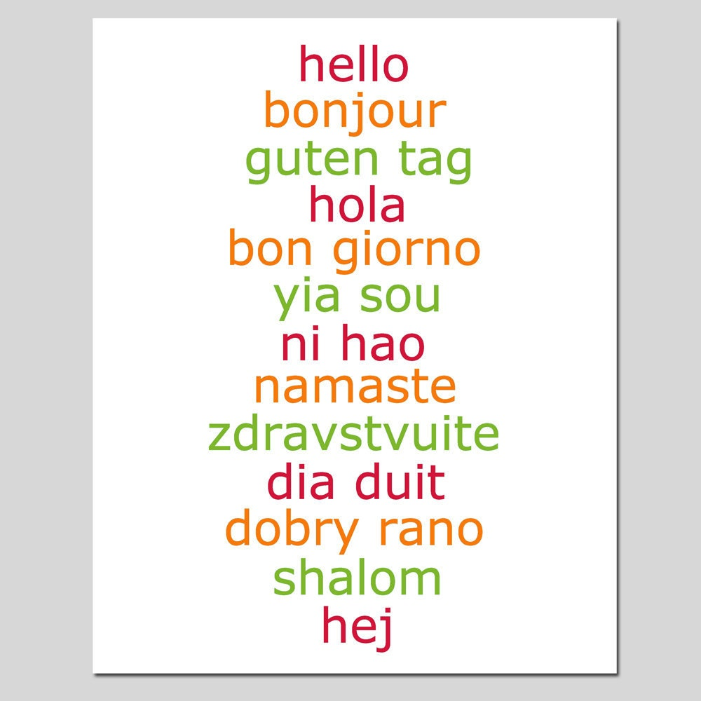 Hello 8x10 print hello in different languages choose by for Green in different languages