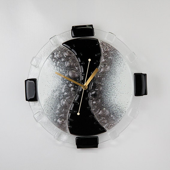 Items similar to hand made fused glass wall clock on etsy for Fused glass wall clocks