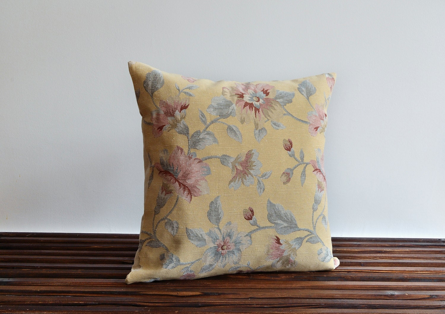 Pale Yellow Throw Pillow Cover : 24x24 Pillow Cover Pale Yellow Floral Pillow Cover by pillowme