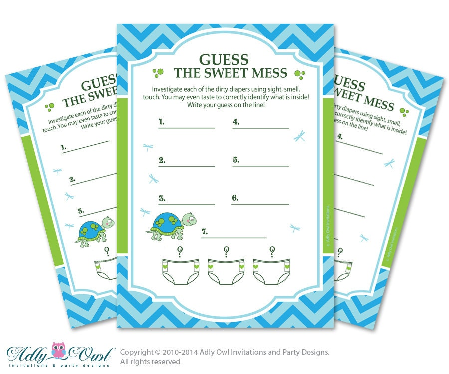 for baby shower boy turtle dirty diaper game guess sweet mess for baby