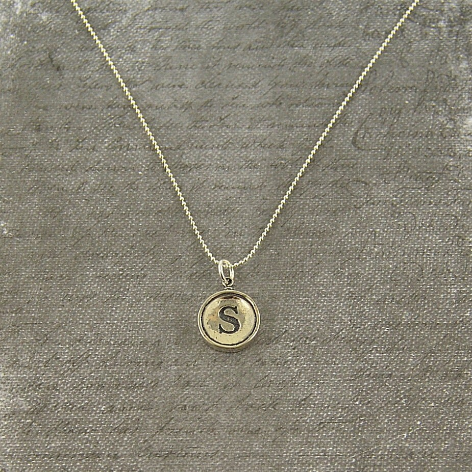 Necklace with s initial - Leather Silver Designer Ring