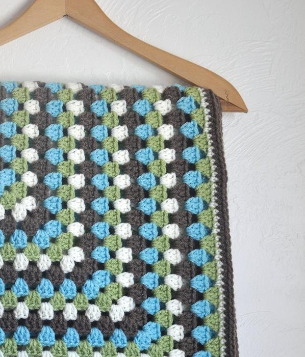 Granny Square Baby Blanket Turquoise Green Brown