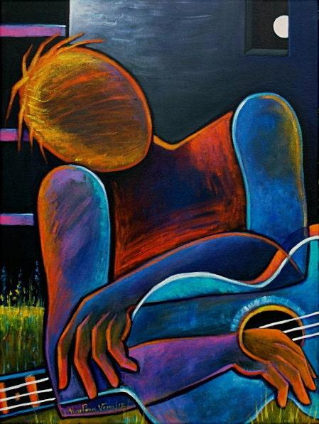 Man with a Blue Guitar Original Modern Abstract Painting Marlina Vera Cubist Art