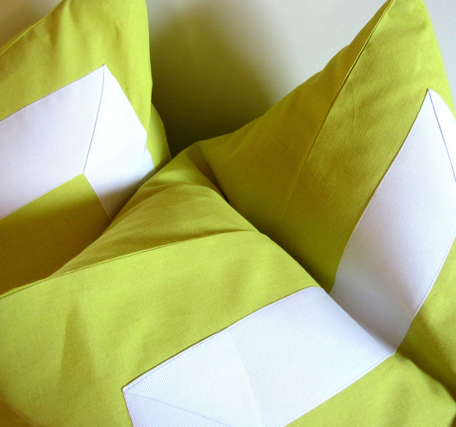Citron pillow - 22 inch - Decorative Pillow - white ribbon embellishment - neon bright - ready to ship